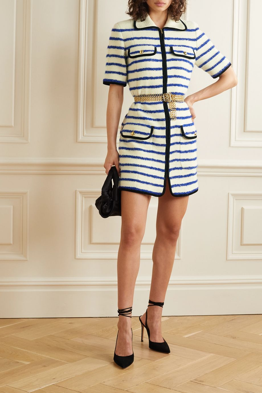 Philosophy di Lorenzo Serafini Button-embellished velvet-trimmed striped bouclé mini dress