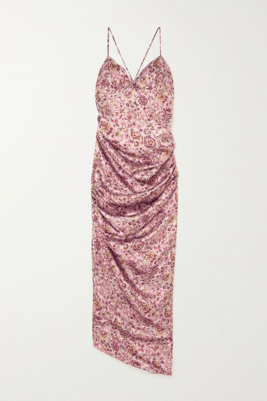 Raquel Diniz Kate ruched floral-print silk-satin maxi dress