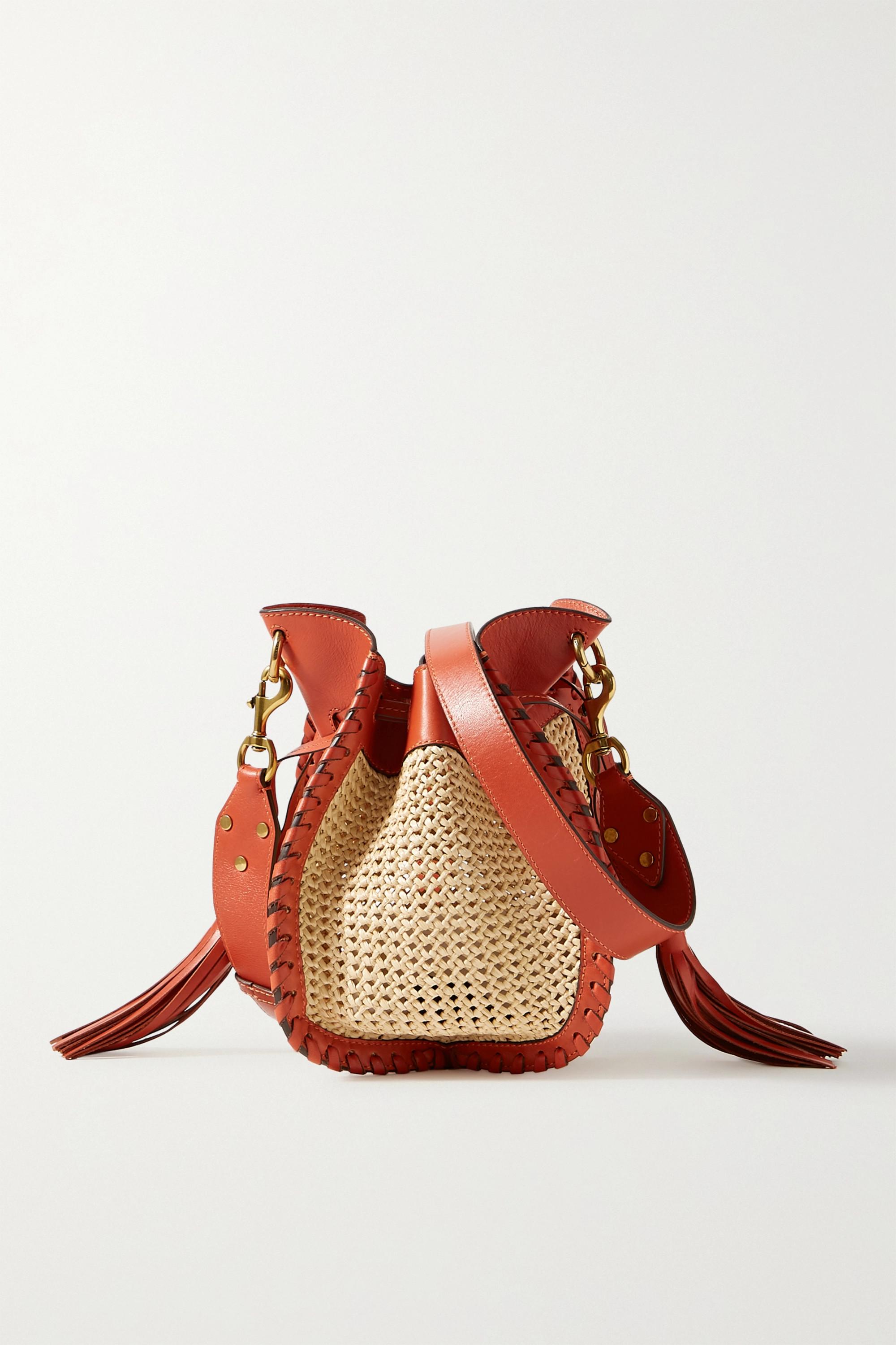Isabel Marant Radja whipstitched leather-trimmed raffia bucket bag