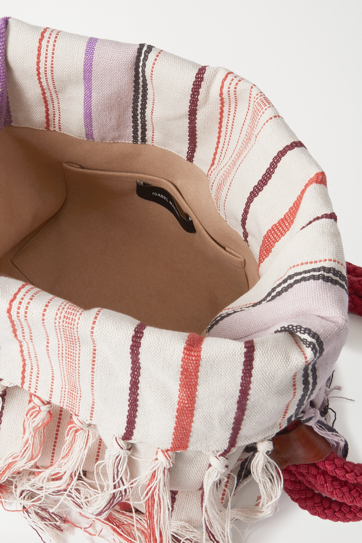 Isabel Marant Marakoo rope-trimmed fringed printed cotton-gauze shoulder bag