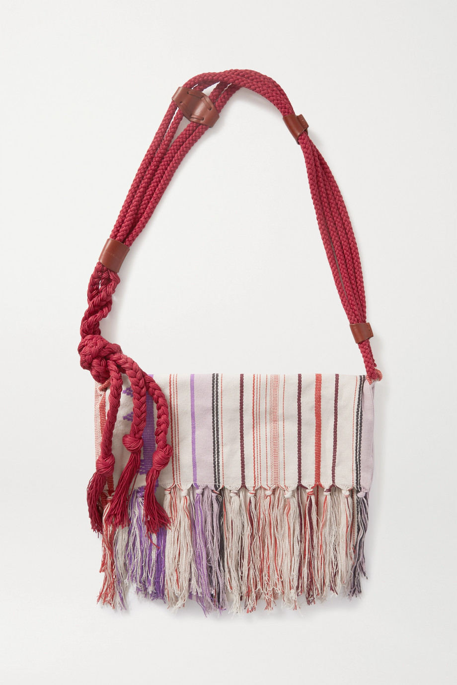 Isabel Marant Marakoo rope-trimmed fringed printed cotton-gauze shoulder bag