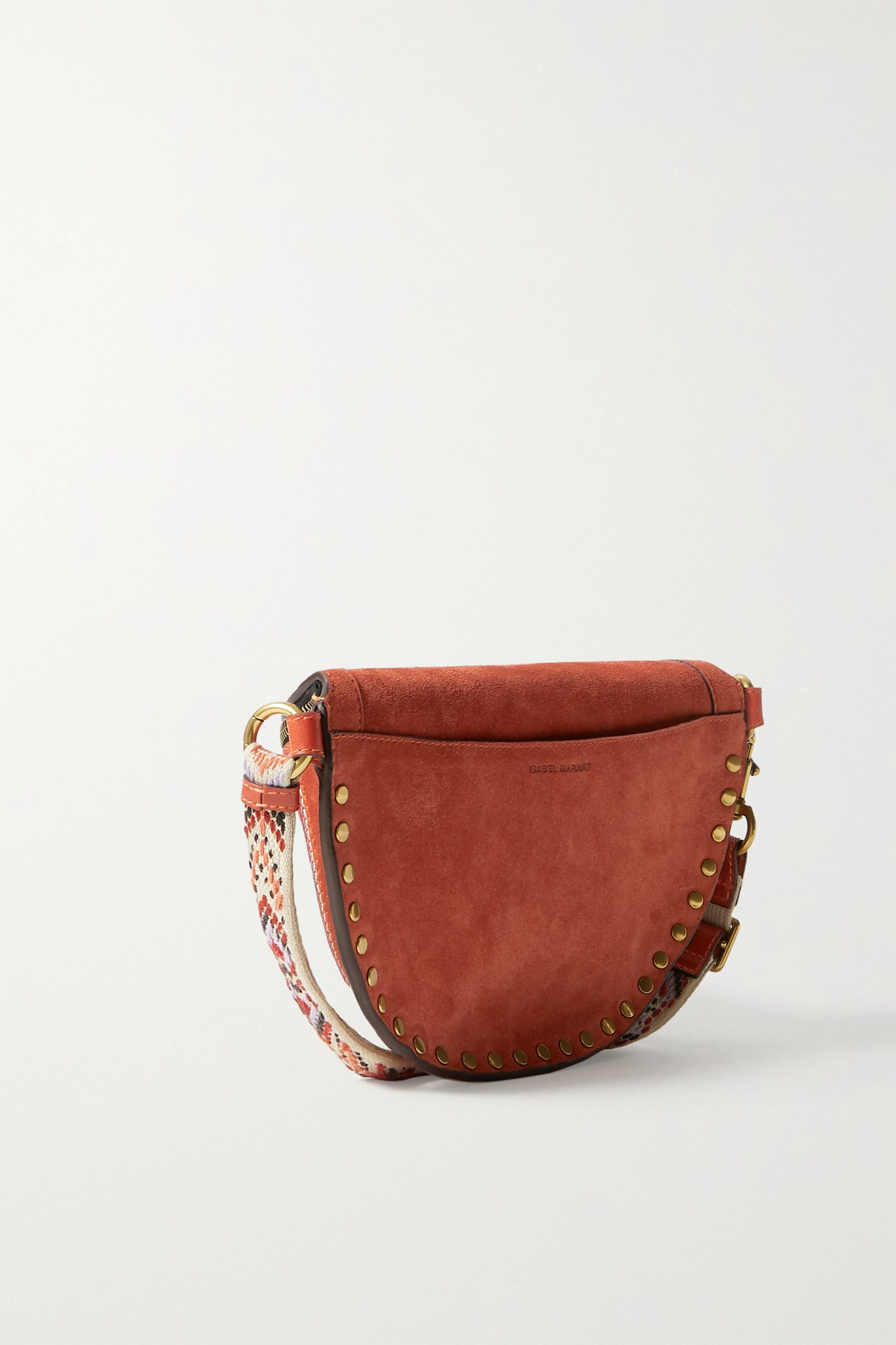 Isabel Marant Skano jacquard-trimmed studded embroidered suede belt bag