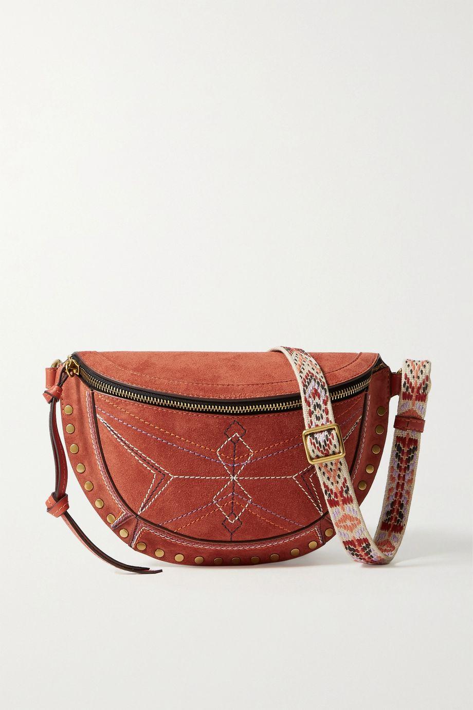 Isabel Marant Skano jacquard-trimmed studded embroidered suede belt bag