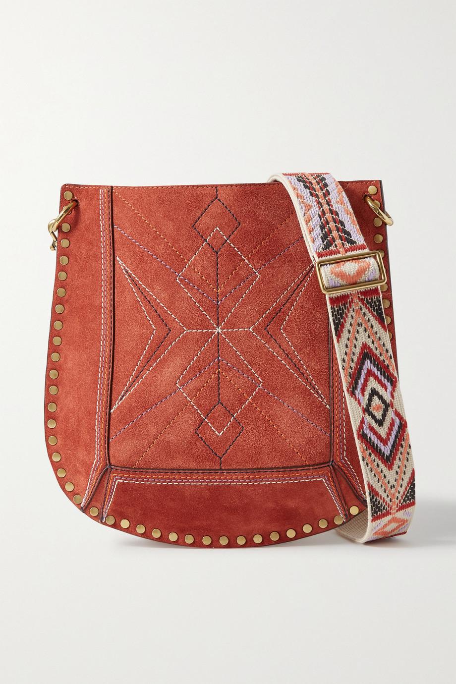 Isabel Marant Oskan studded embroidered suede shoulder bag