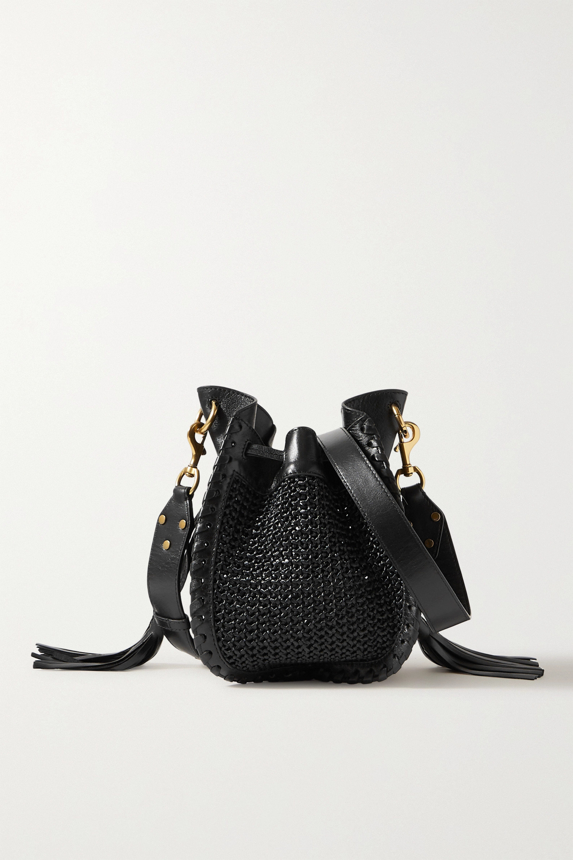 Isabel Marant Radja whipstitched leather-trimmed raffia bucket bag
