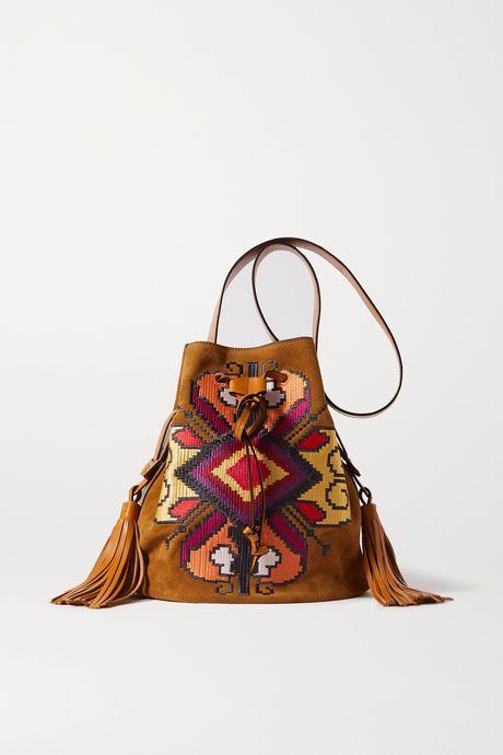 Tan Moshy leather-trimmed embroidered suede shoulder bag | Isabel Marant WcZcBf