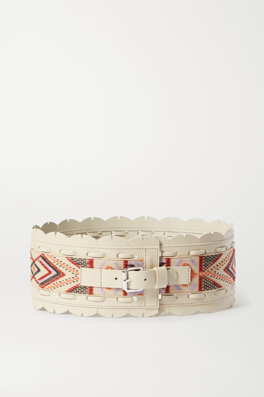 Isabel Marant Maua topstitched leather and jacquard waist belt