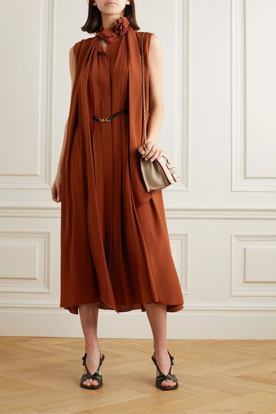 Victoria Beckham Belted scarf-detailed silk crepe de chine midi dress