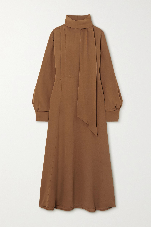 Victoria Beckham Tie-neck crepe midi dress