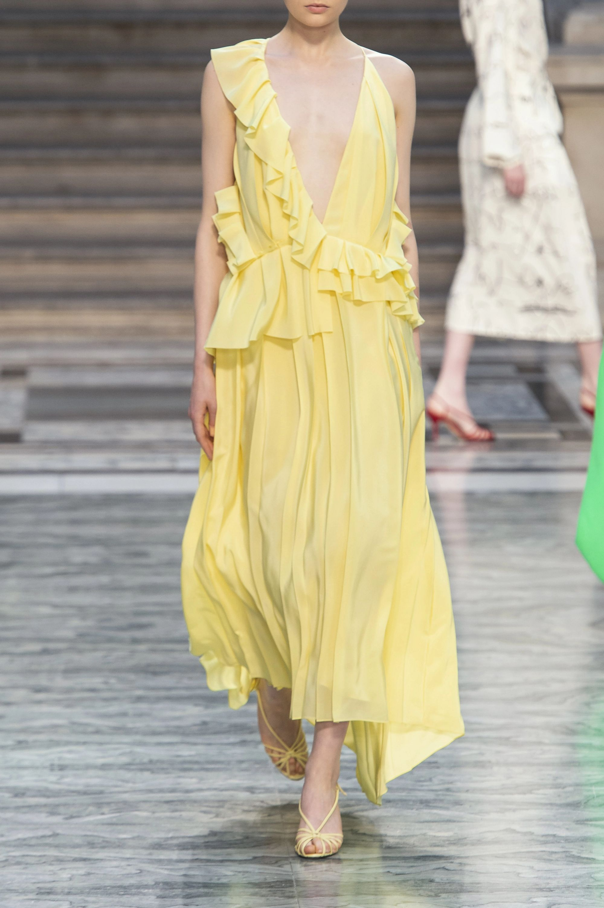 Victoria Beckham Asymmetric ruffled silk-georgette midi dress