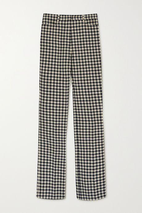 Cream Checked woven flared pants   Victoria Beckham 4FVzsm