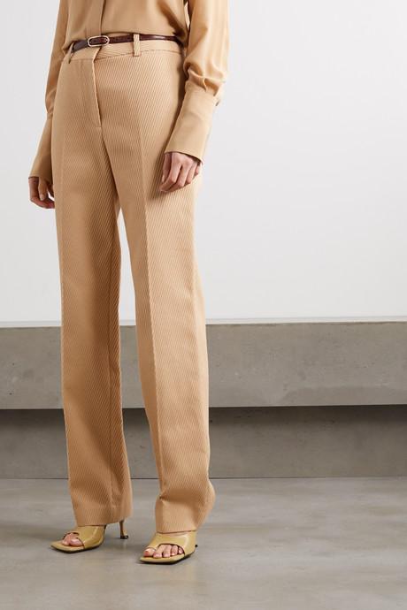 Ribbed cotton straight-leg pants