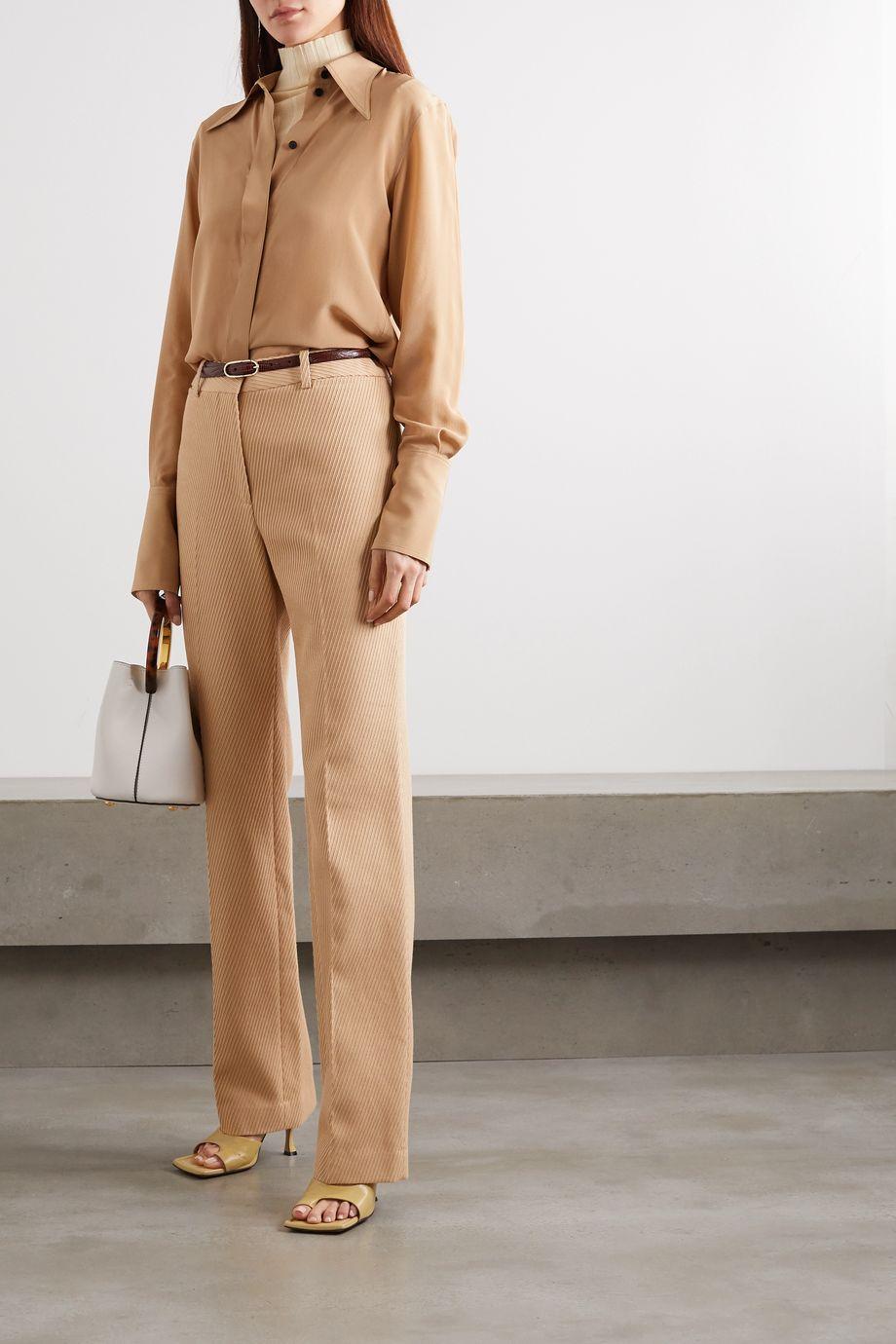 Victoria Beckham Hose mit geradem Bein aus gerippter Baumwolle