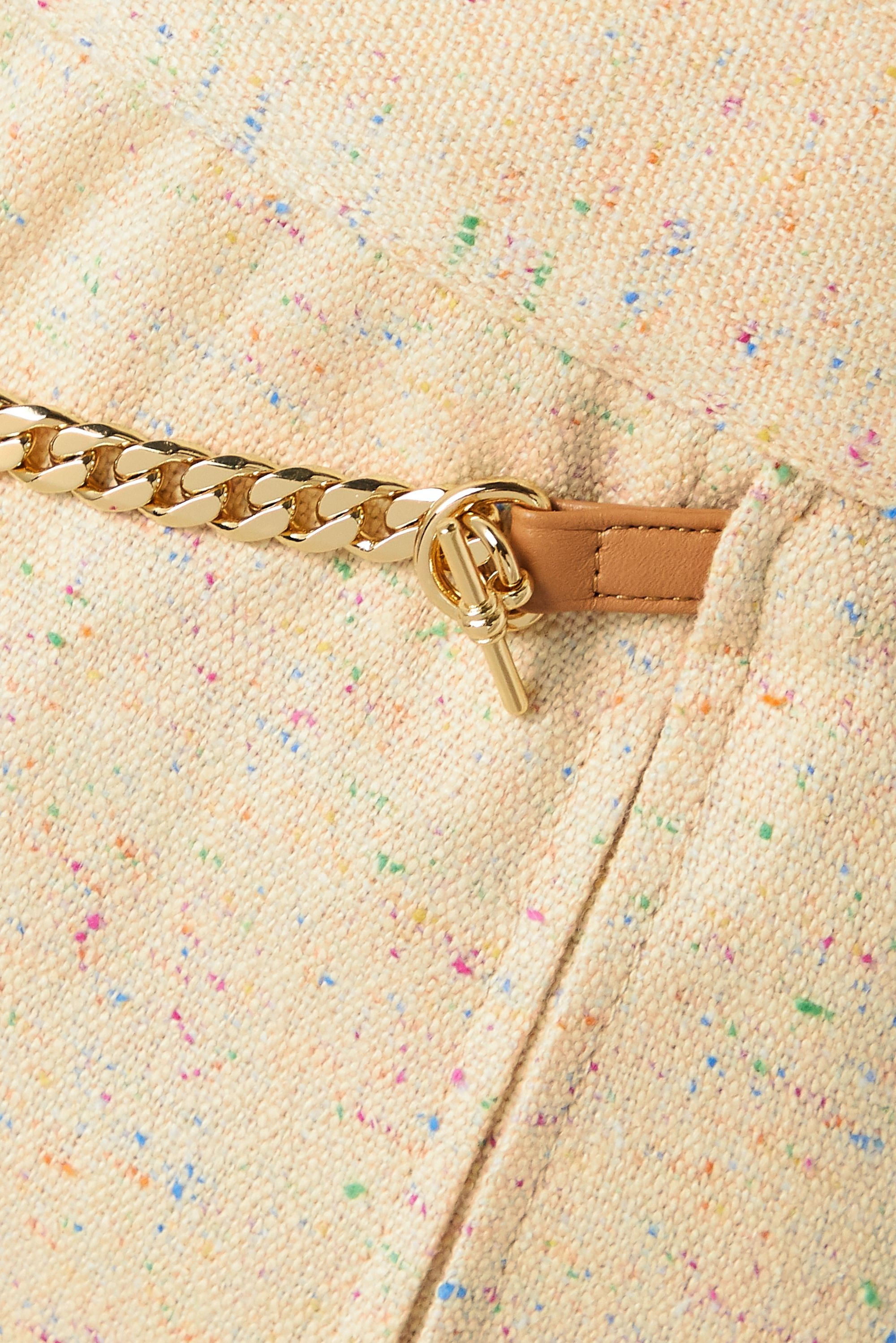 Victoria Beckham Wickelrock aus Tweed aus einer Seidenmischung mit Falten und Lederdetails