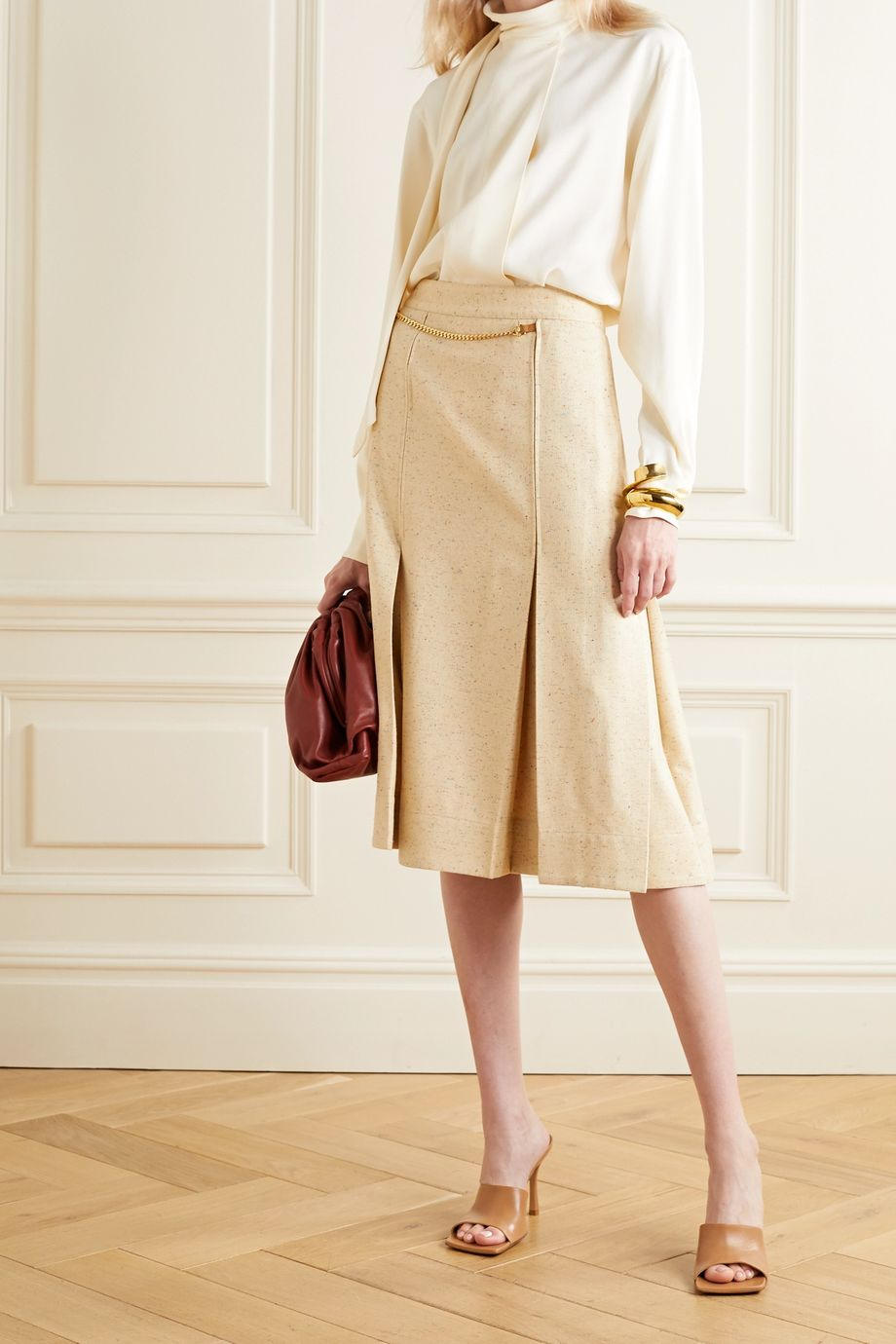 Victoria Beckham Leather-trimmed pleated silk-blend tweed wrap skirt