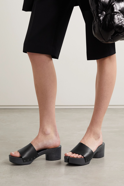 Black Split-toe logo-debossed leather