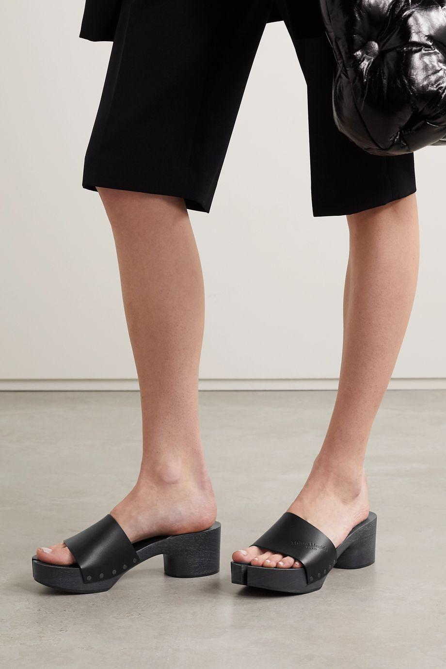 Maison Margiela Split-toe logo-debossed leather platform mules