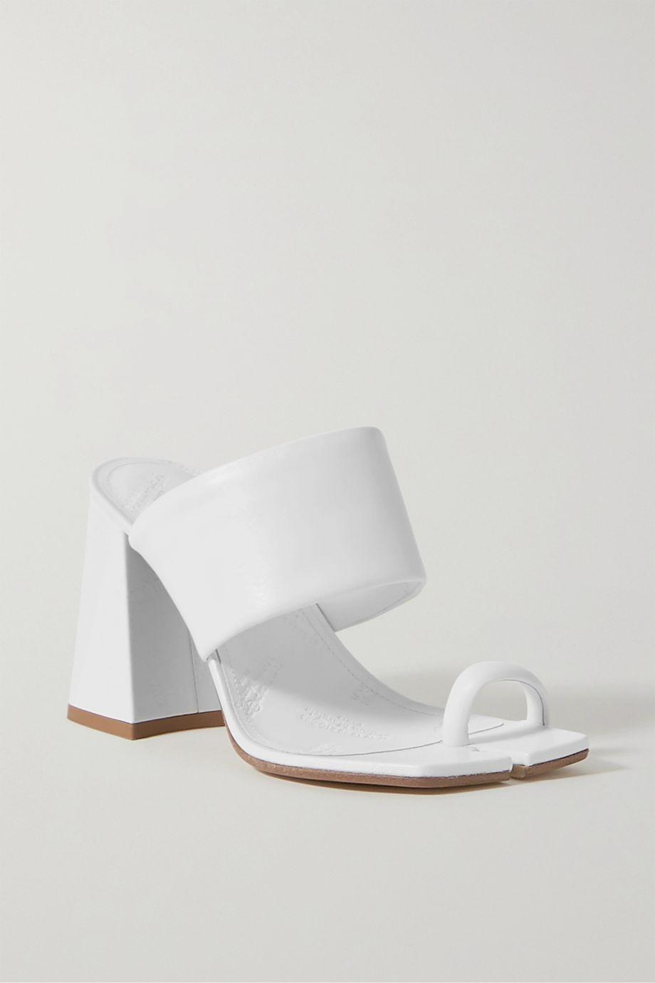 Maison Margiela Split-toe logo-embossed leather mules