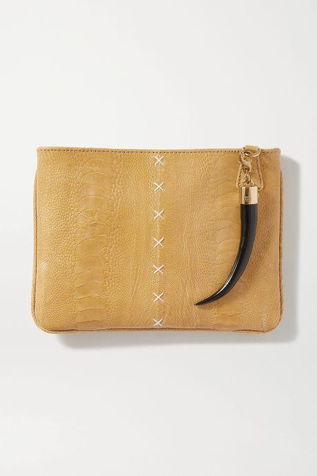 Beige Embellished ostrich clutch | Okapi gOQpxj