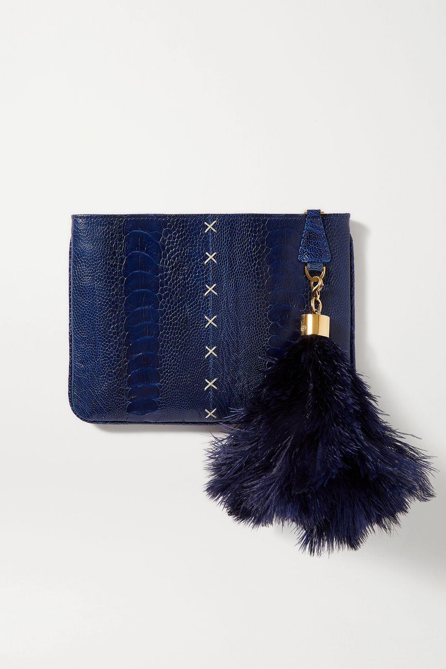 Okapi Feather-embellished ostrich clutch