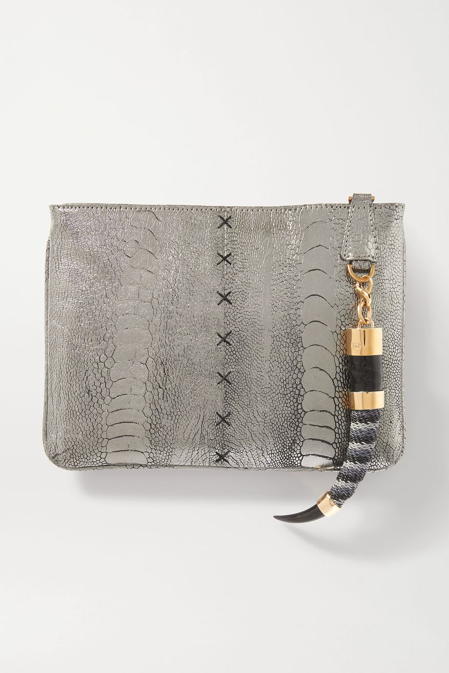 Okapi Embellished metallic ostrich clutch
