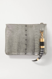 Okapi Embellished metallic ostrich clutch