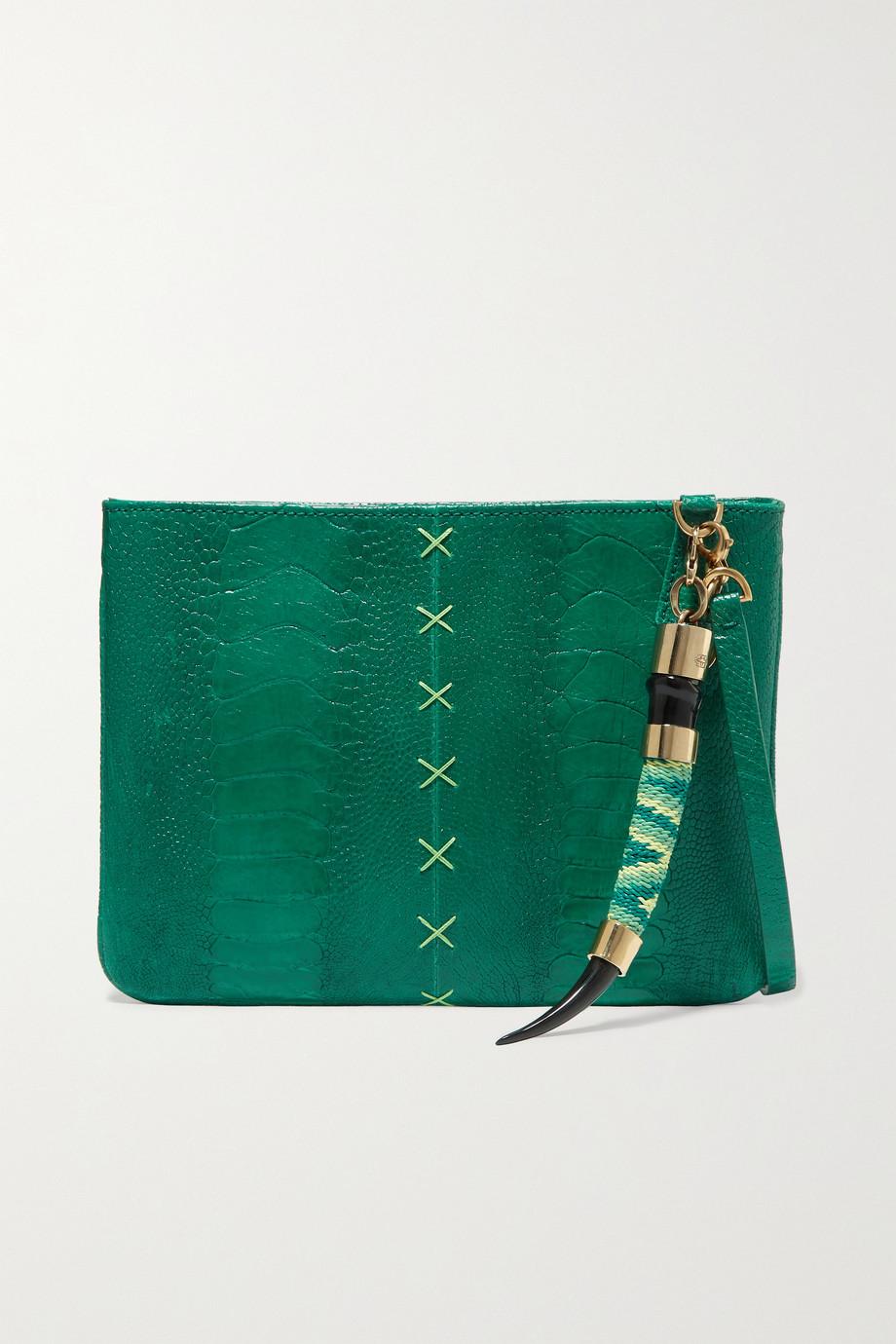 Okapi Embellished ostrich clutch