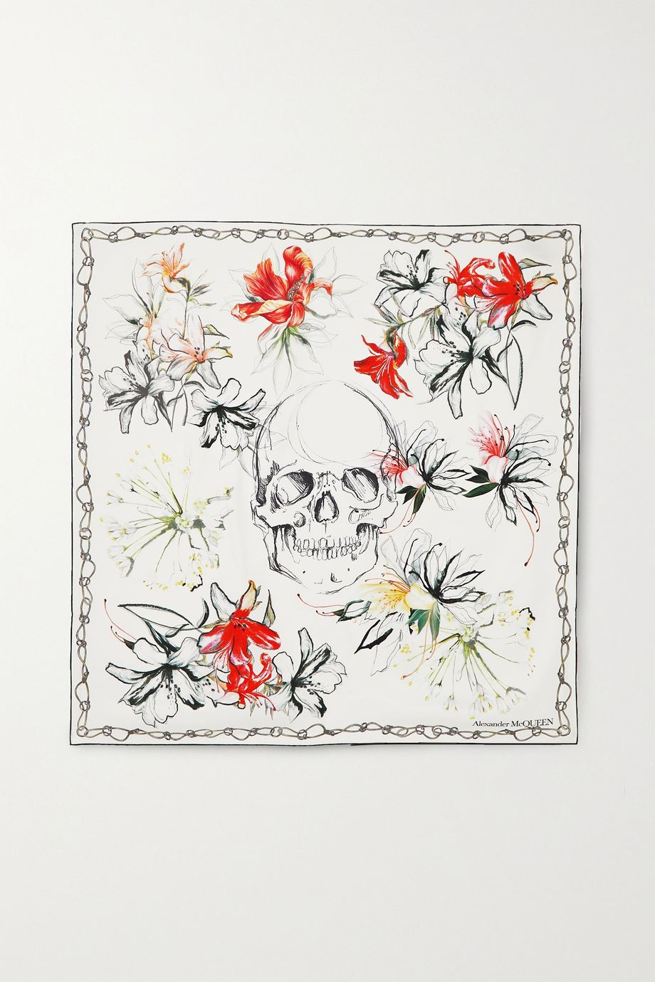 Alexander McQueen Foulard en serge de soie imprimée