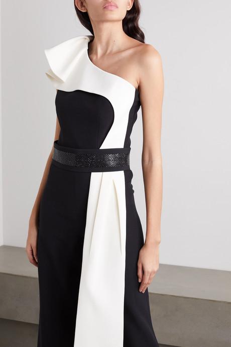 Vernisha belted draped one-shoulder two-tone crepe jumpsuit