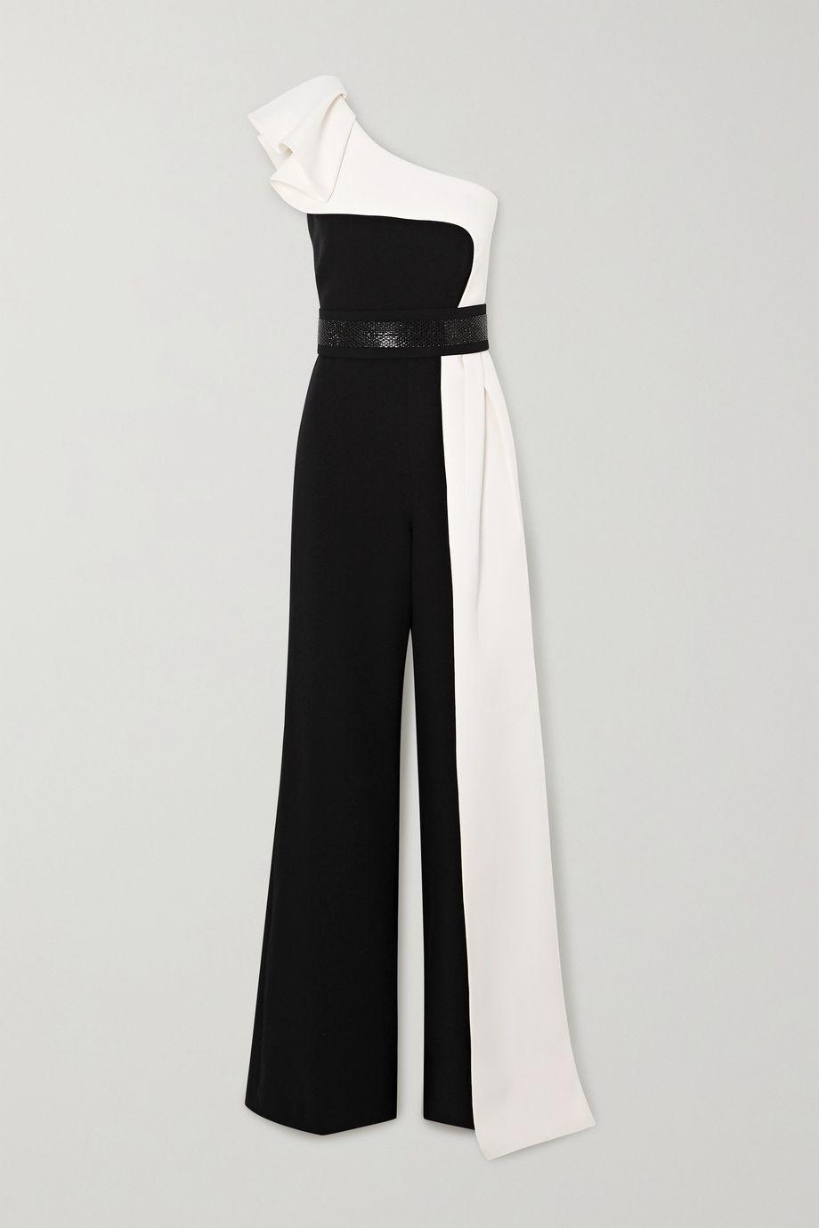 Safiyaa Vernisha belted draped one-shoulder two-tone crepe jumpsuit