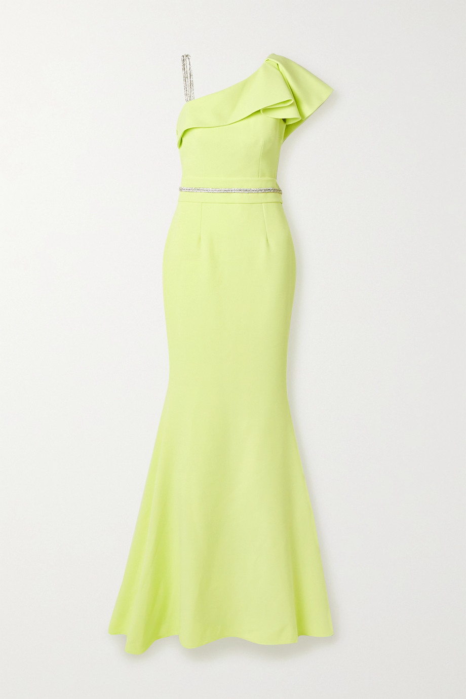 Safiyaa Mercedes belted ruffled crystal-embellished stretch-cady gown