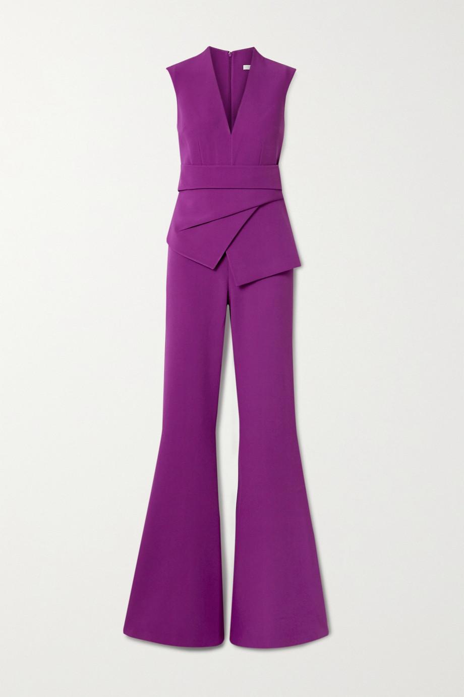 Safiyaa Reyanna layered stretch-crepe flared jumpsuit