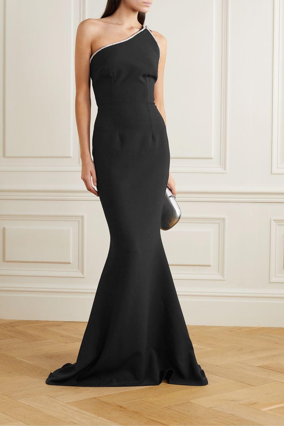 Safiyaa Electra one-shoulder crystal-embellished crepe gown