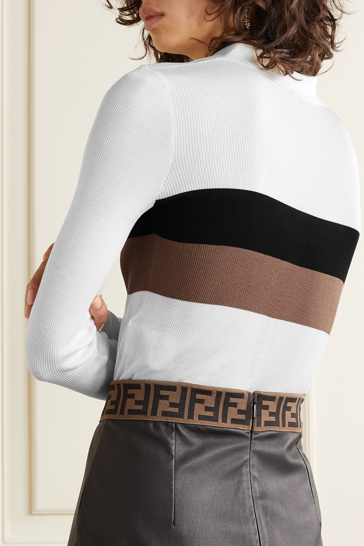 Fendi Striped ribbed silk polo shirt