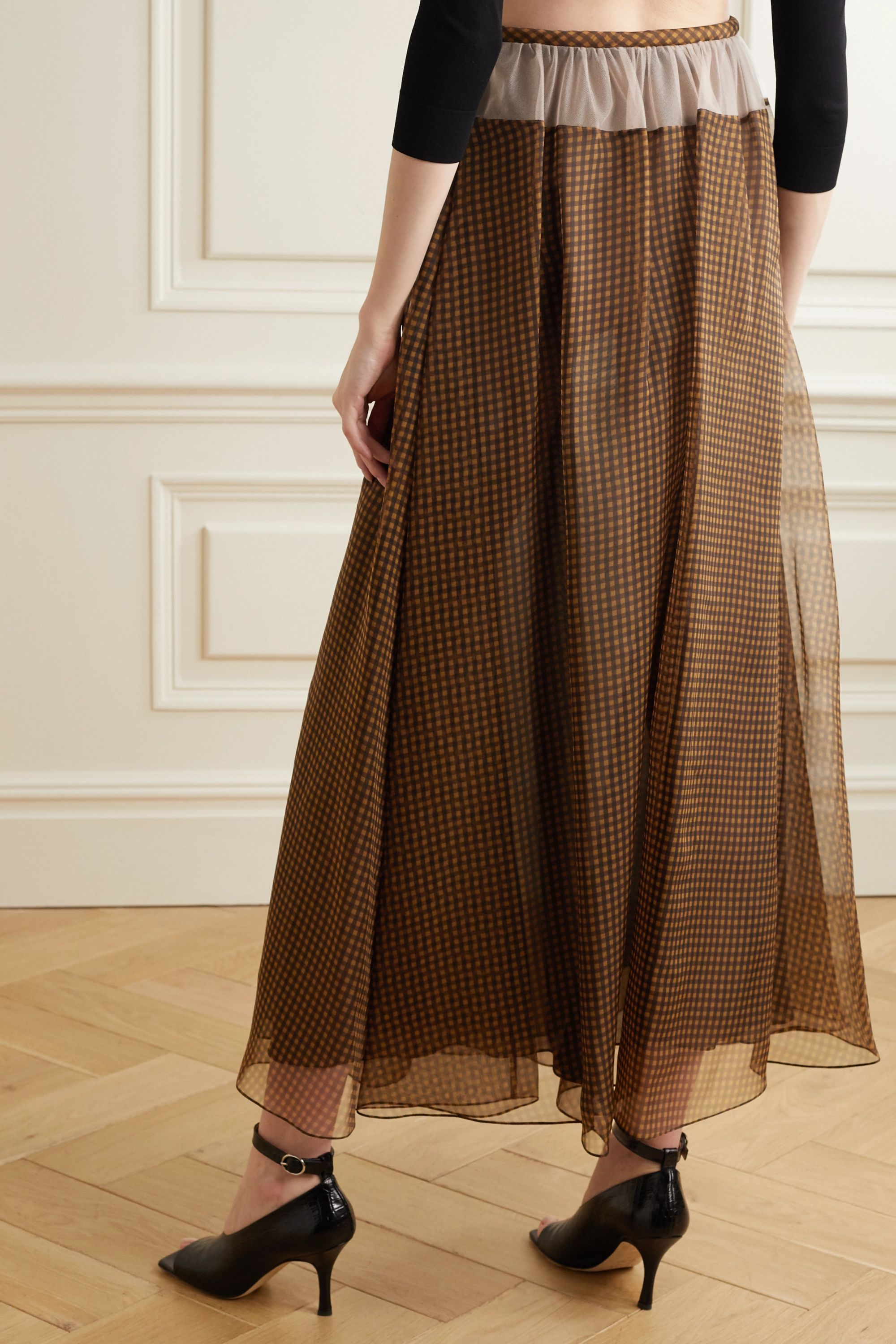 Fendi Tulle-trimmed checked silk-organza maxi skirt