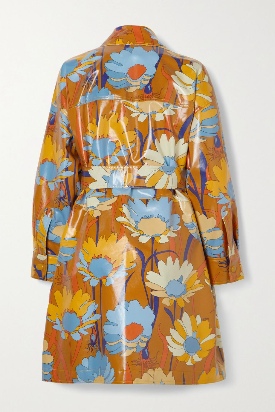 Fendi Floral-print belted glossed-cotton coat