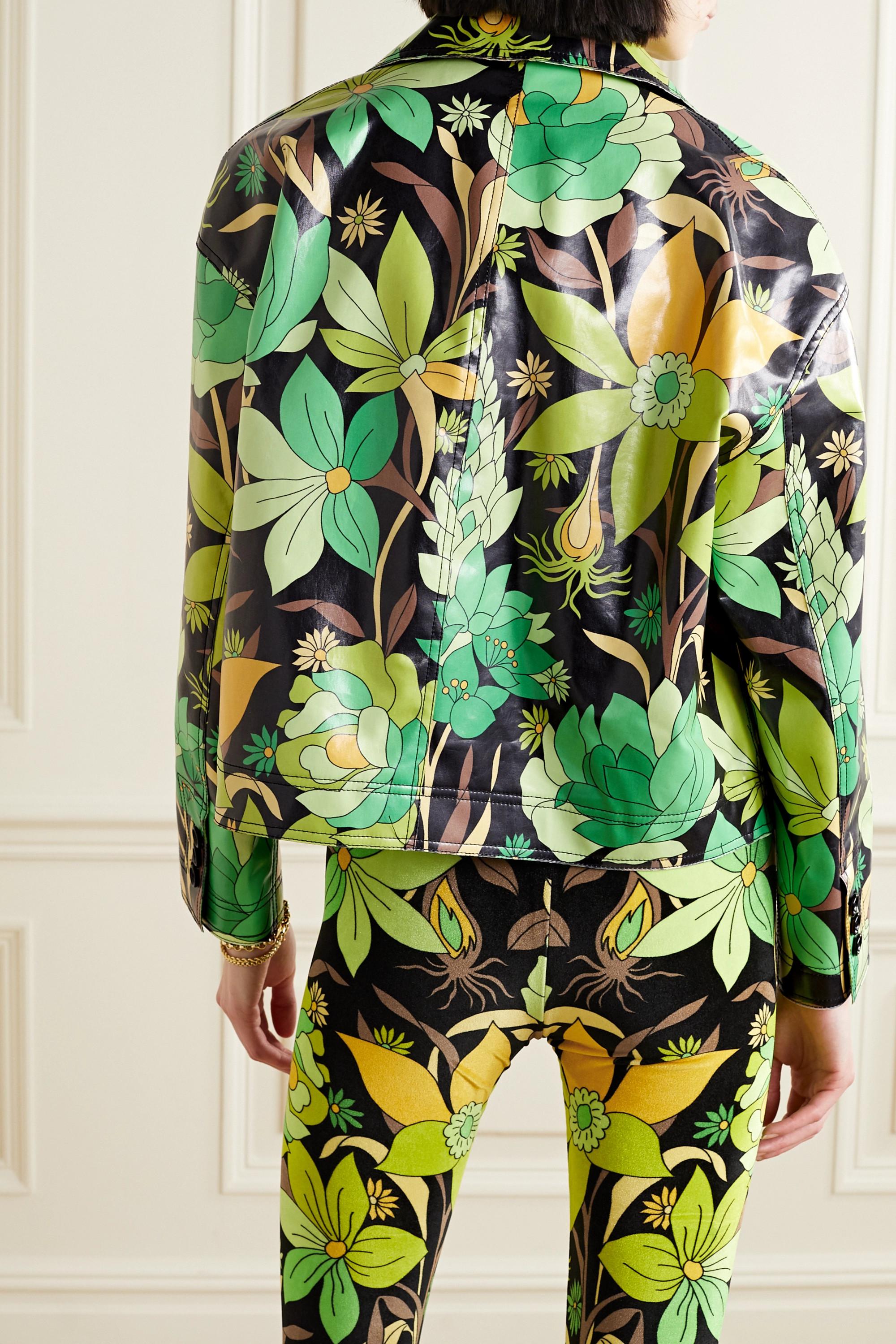 Fendi Veste à double boutonnage en serge de coton enduite à imprimé fleuri