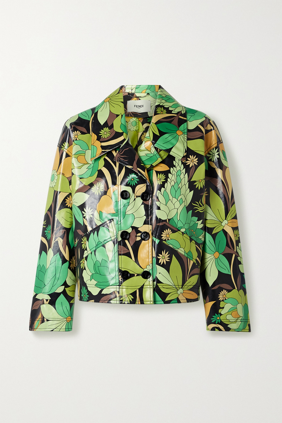 Fendi Double-breasted floral-print coated cotton-twill jacket