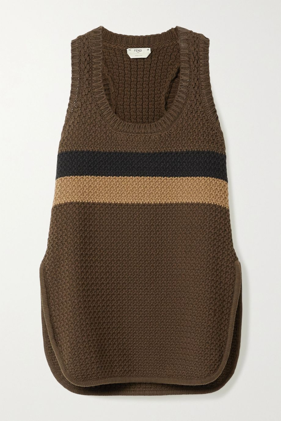 Fendi Striped cotton-blend tank
