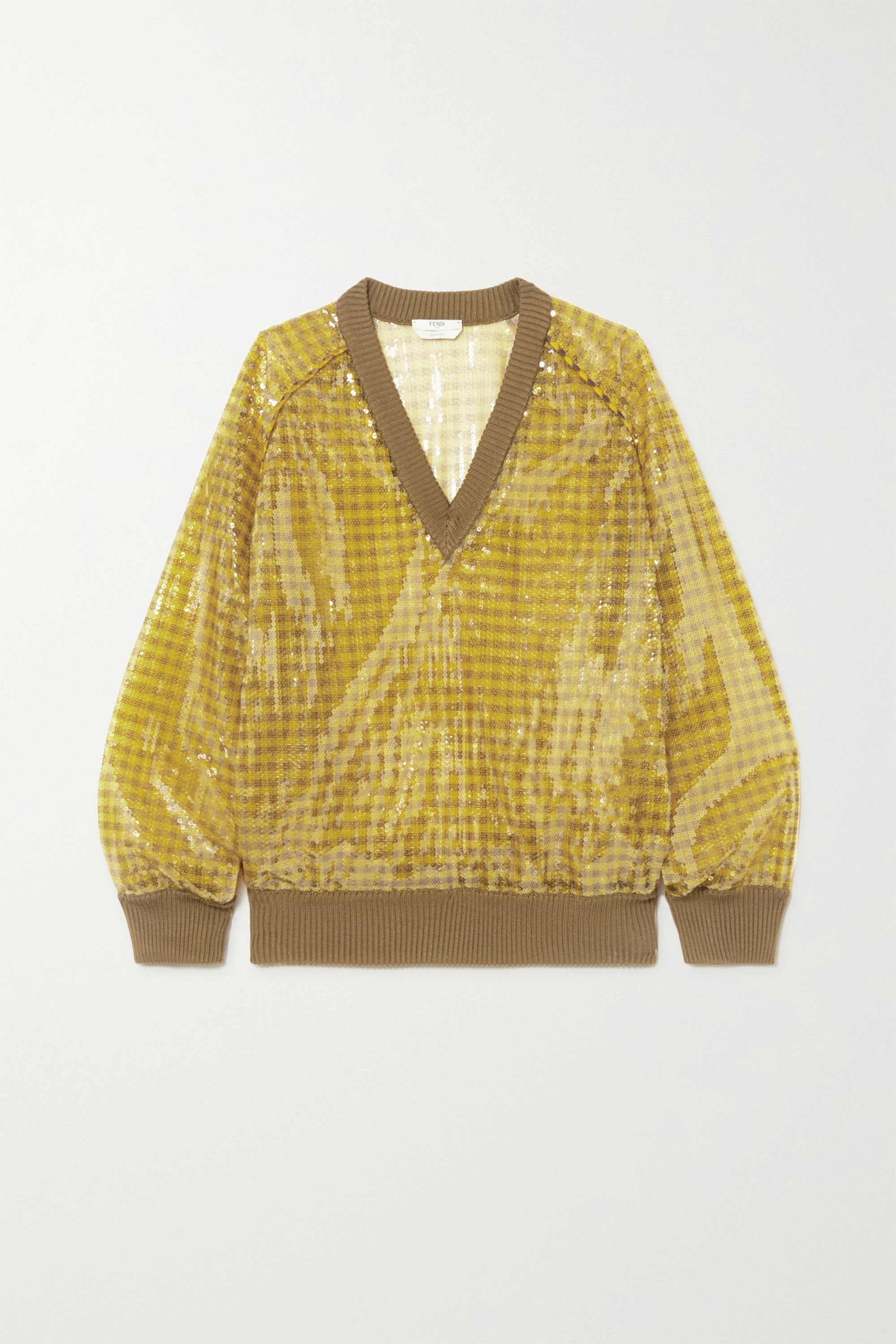 Fendi Sequined checked knitted sweater