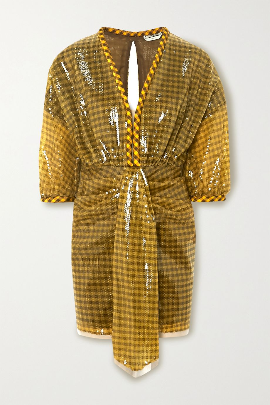 Fendi Sequined checked satin-trimmed tulle mini dress