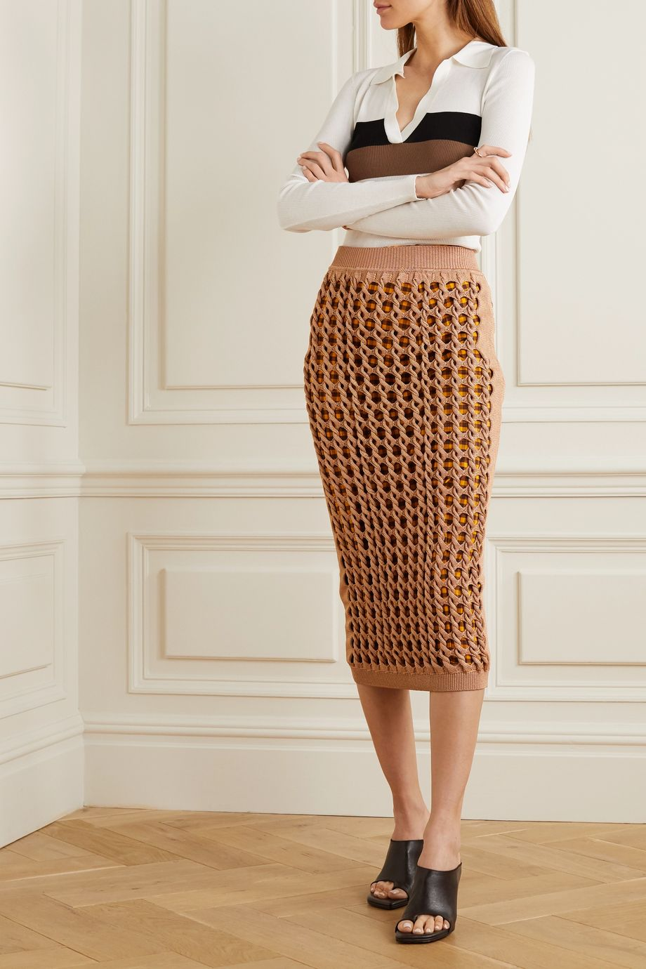 Fendi Crochet-knit midi skirt