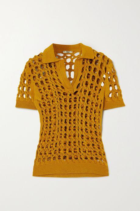 Yellow Crochet-knit polo shirt | Fendi rhqYL6