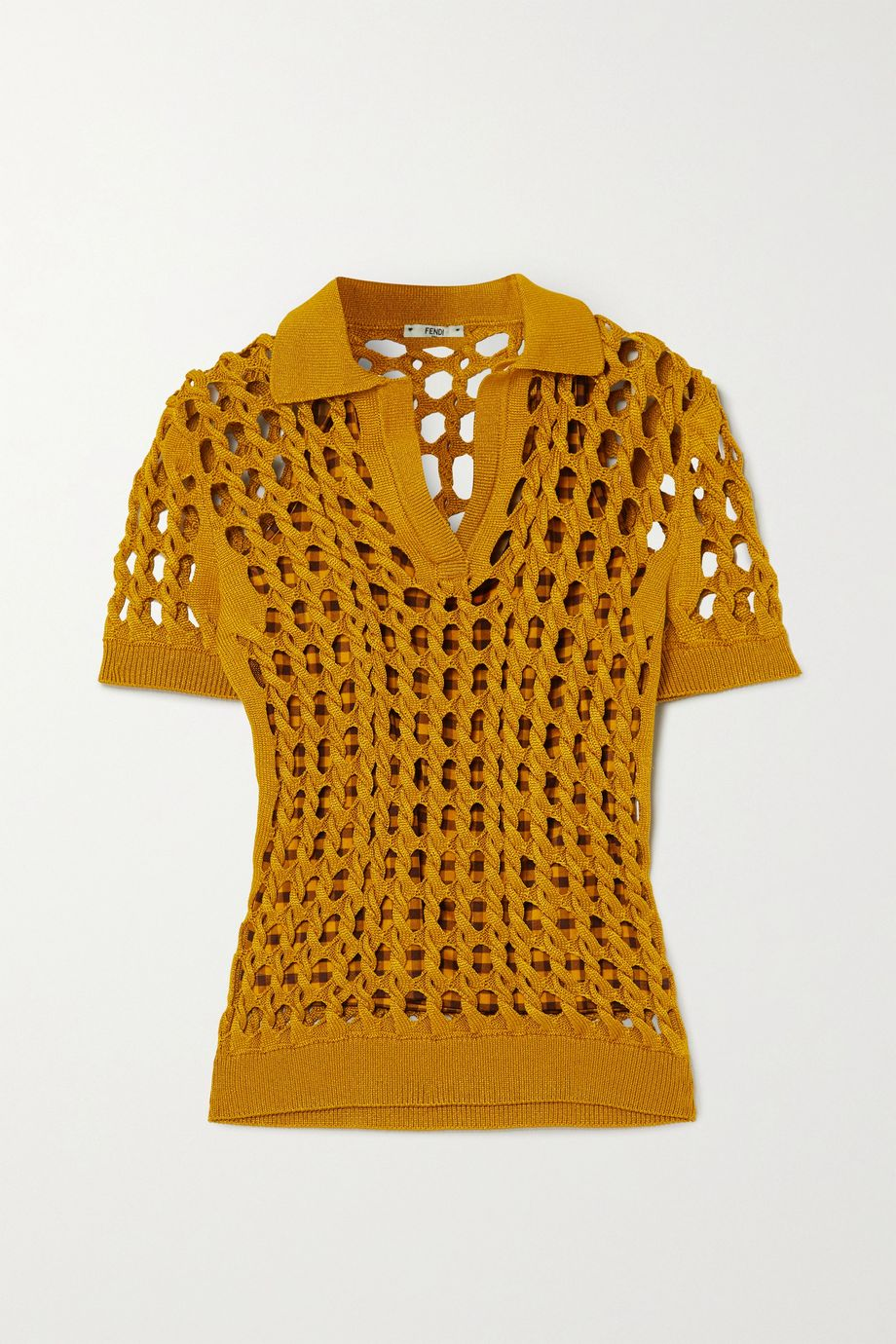 Fendi Crochet-knit polo shirt