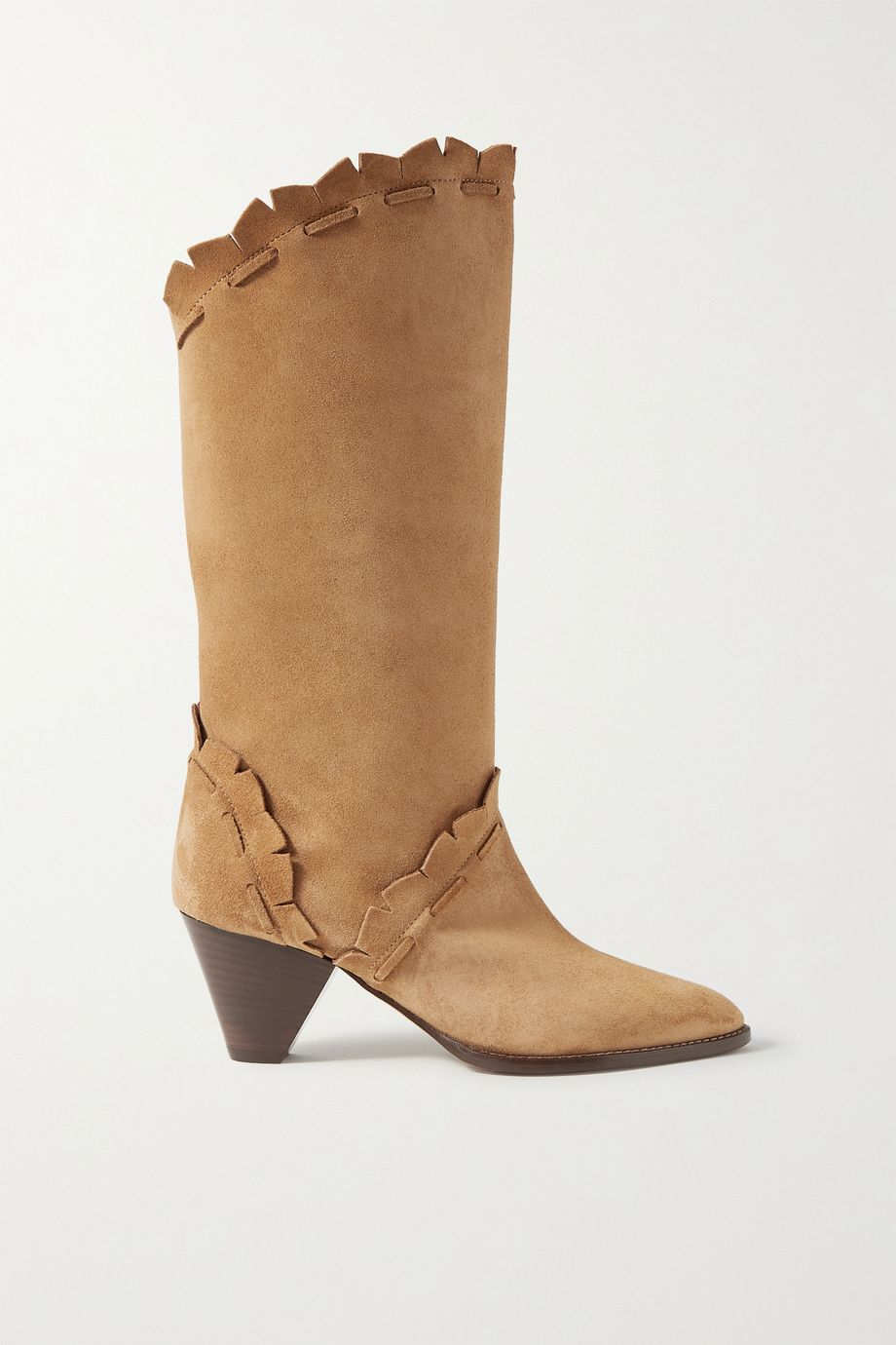 Isabel Marant Leesta scalloped topstitched suede boots