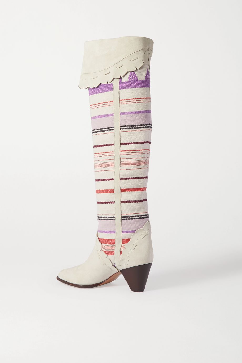 Isabel Marant Luiz striped scalloped canvas and suede knee boots