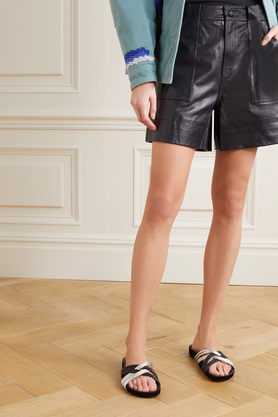 Isabel Marant Hellya zweifarbige Pantoletten aus Leder