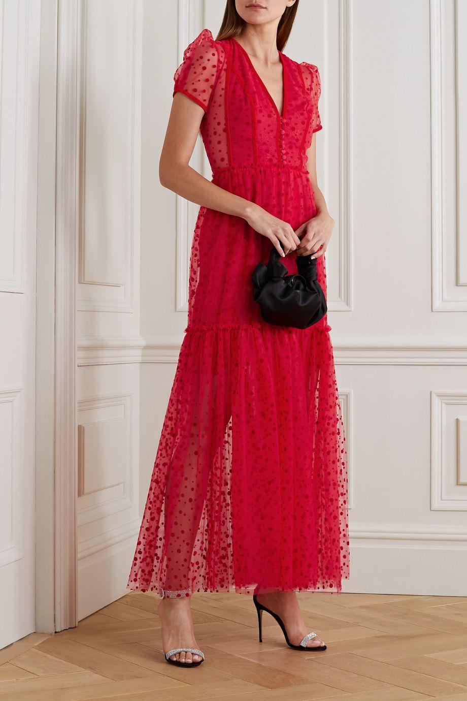 Costarellos Tona polka-dot flocked tulle gown