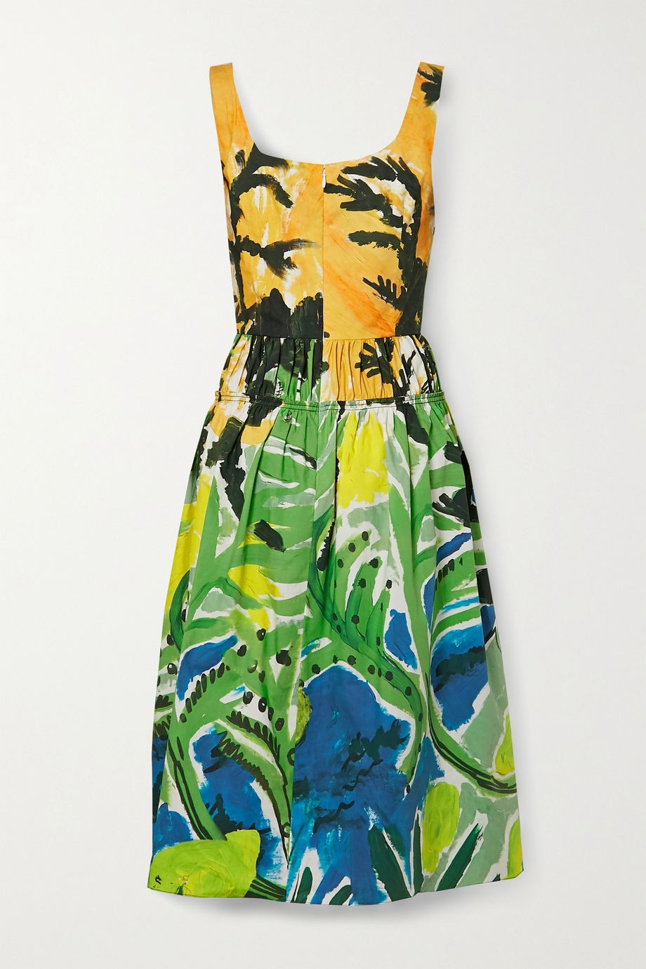 Marni Gathered printed cotton-poplin midi dress