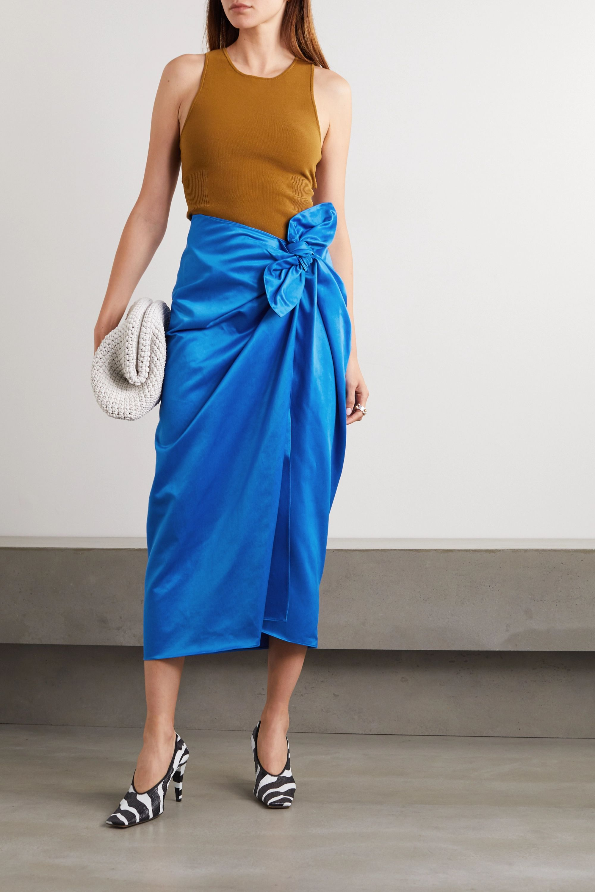 Marni Wrap-effect cotton and cupro-blend satin midi skirt